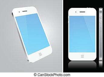 concept., smartphone, touchscreen, blanc