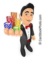 concept, smoking, casino, chips., homme, pari, 3d