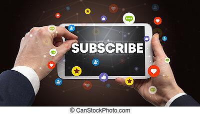 concept, social, média, touchscreen, gros plan