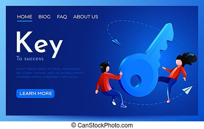 concept., solution, clã©, reussite, site web, mouche, key., autour de, 3d, page, template., ou, gens, atterrissage, occasion