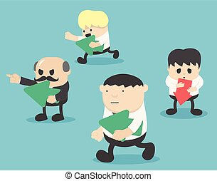 concept., stand, pensée, foule, dehors, business, différent, gens., droit, way., concept, gauche