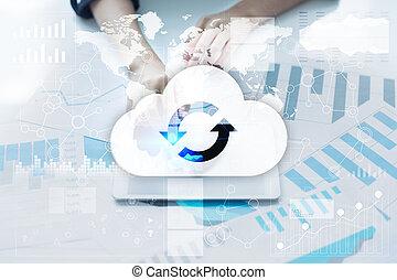 concept., storage., service, gestion réseau, technology., internet, nuage, données