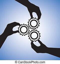 concept, success., reussite, gens, collaboration, équipe, co-de exploitation, illustration, inclut, silhouettes, graphique, collaboration, ensemble, tenant mains, main, roues dentées, indiquer, joindre
