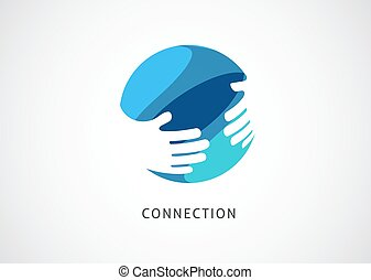 concept, symbole, coopération, logo, signe, poignée main, vecteur, réseau, template., conception abstraite