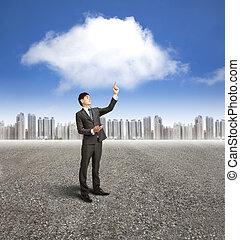 concept, téléphone, calculer mobile, application, homme affaires, utilisation, nuage