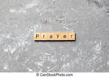 concept, table, prière, block., mot, texte, écrit, bois, desing, ton, ciment