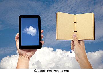 concept, tablette, calculer, main, pc, livre, tenue, nuage