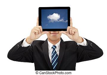 concept, tablette, pensée, pc, tenue, homme affaires, sourire, nuage