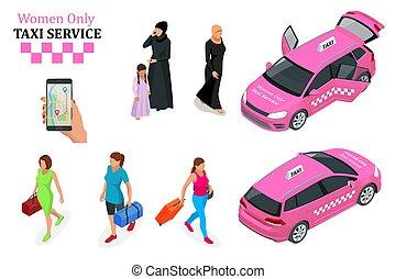 concept., taxi, touchscreen., service, femmes seulement, smartphone