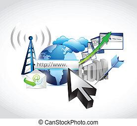 concept, technologie, ecommerce, internet