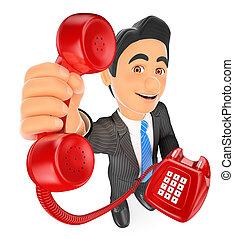 concept, telephone., appeler, homme affaires, rouges, 3d
