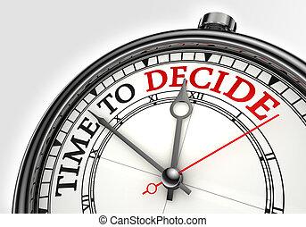 concept, temps, décider, horloge
