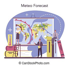concept., temps, météorologiste, rechercher, forecaster, étudier