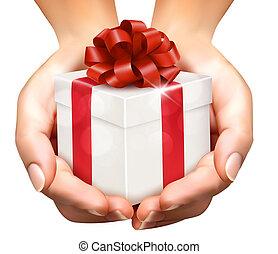 concept, tenue, don donne, boxes., présente, fond, mains, vacances