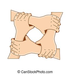 concept, tenue, -, ou, vecteur, teamwork., gabarit, mains, cercle, design., amitié, ton, illustration.
