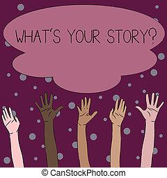 concept, texte, actions, passé, ton, quel, coloré, écriture, demander, cloud., evénements, vie, sien, diversité, business, atteindre, grand, question., histoire, démontrer, mains, élévation, sur, mot, multiracial, s, ascendant