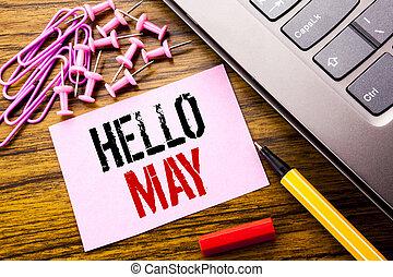 concept, texte, papier collant, rose, suivant, note, écrit, month., printemps, keyboard., rouges, manuscrit, business, mai, projection, fond, venir, mois, bois, pen., bonjour