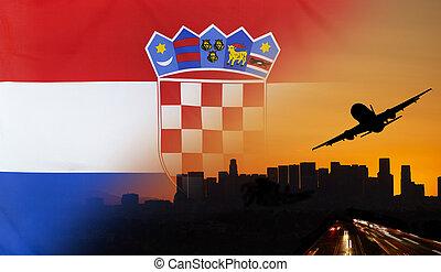 concept, tissu, voyage, drapeau, croatie, transport