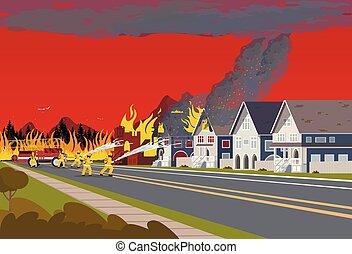concept, town., pompiers, fire., forêt, éteindre