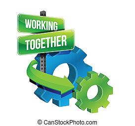 concept, travailler ensemble, engrenages