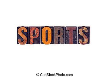 concept, type, isolé, letterpress, sports