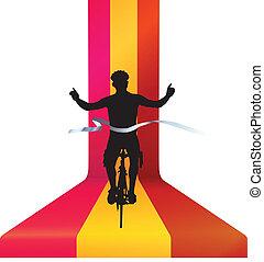 concept, vélo, cycliste, -, race gagnant, finir