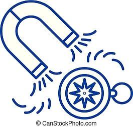 concept., vecteur, ligne, plomb, symbole, plat, icône, signe, contour, génération, illustration.