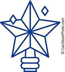 concept., vecteur, ligne, symbole, plat, icône, signe, étoile, noël, contour, illustration.