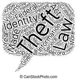 concept, vol, texte, wordcloud, fond, droit & loi, identité