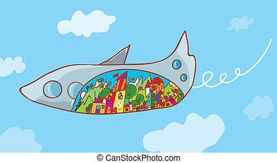 concept, voyage, -, avion, dessin animé, paysage