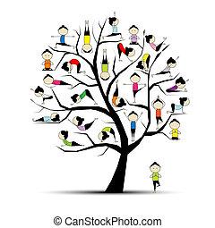 concept, yoga, pratique, arbre, conception, ton