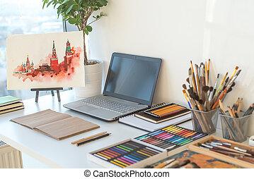concepteur, artiste, equipment., dessin, studio, lieu travail, bureau, maison, vue., ordre, côté, peintre