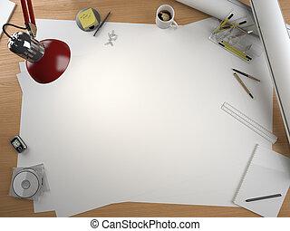 concepteur, espace, éléments, table, copie, dessin