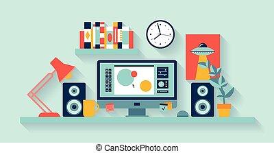concepteur, espace de travail, bureau