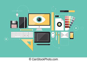 concepteur, graphique, lieu travail, illustration, plat