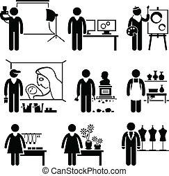 concepteur, travaux, artistique, métiers