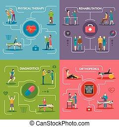 conception, 2x2, physiothérapie, concept, rééducation