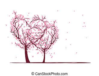 conception, amour, ton, arbres