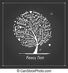 conception, arbre, famille, ton, croquis
