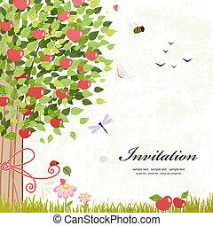 conception, arbre, pomme, carte
