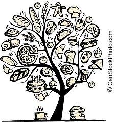 conception, boulangerie, concept, arbre, ton