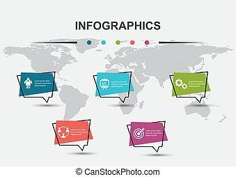 conception, bulles, parole, infographic, gabarit