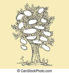conception, cadre, arbre, vide, famille