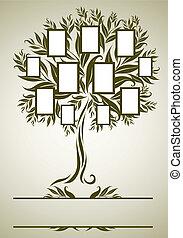 conception, cadre, vecteur, arbre, famille