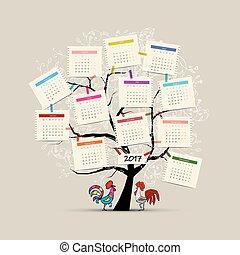 conception, calendrier, 2017, arbre, ton