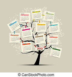 conception, calendrier, arbre, ton, 2012