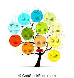 conception, calendrier, arbre, ton, 2014