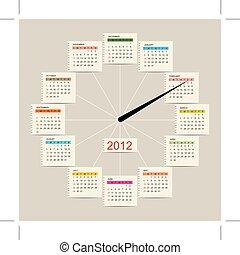 conception, calendrier, montre, ton, 2012