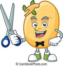 conception, caractère, tubercule, coiffeur, dessin animé, sprouted, pomme terre, smiley, mascotte