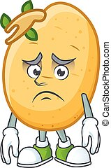 conception, caractère, tubercule, dessin animé, sprouted, pomme terre, effrayé, mascotte